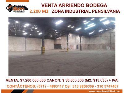 **VENTA ARRIENDO BODEGA INDUSTRIAL 2.200 M2