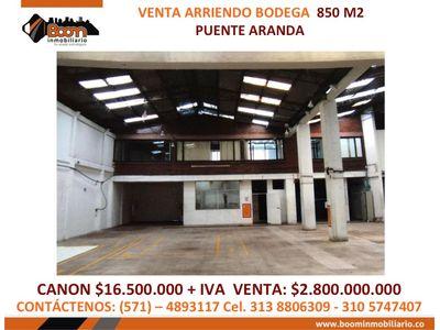 **ARRIENDO VENTA BODEGA PUENTE ARANDA 850 M2
