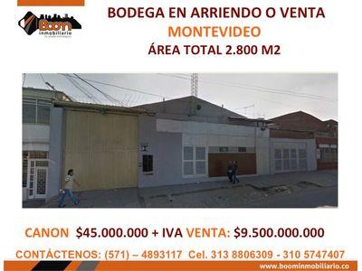 **ARRIENDO O VENTA BODEGA 2.800 M2 MONTEVIDEO