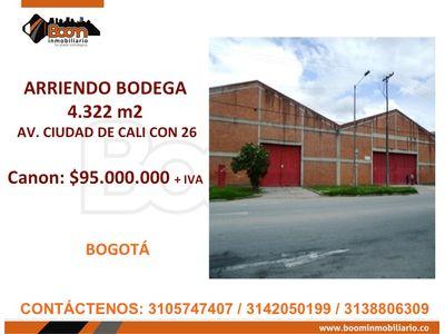 **ARRIENDO BODEGA 4.322 M2 CLL 26