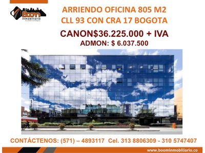 **ARRIENDO OFICINA 805 M2 CLL 93