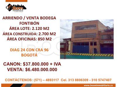 **ARRIENDO VENTA BODEGA FONTIBON 2.700M2