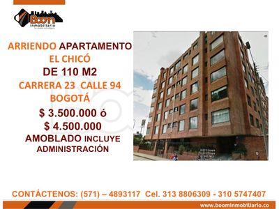**ARRIENDO APARTAMENTO CHICO 110 M2