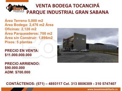**VENTA ARRIENDO BODEGA 7.198 M2 TOCANCIPA