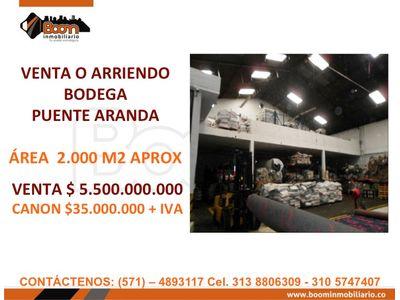 **VENTA ARRIENDO BDEGA PUENTE ARANDA 2.000 M2