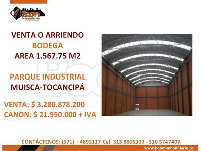 **VENTA ARRIENDO BODEGA 1.567 M2 TOCANCIPA