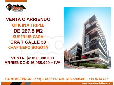 *VENTA ARRIENDO OFICINA 267 M2 CHAPINERO