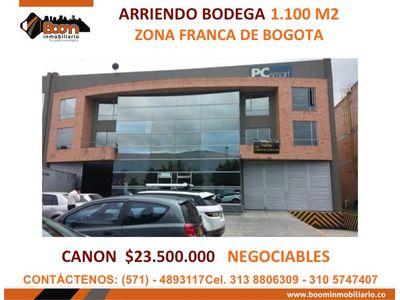 *ARRIENDO BODEGA ZONA FRANCA BOGOTA 1.100 M2