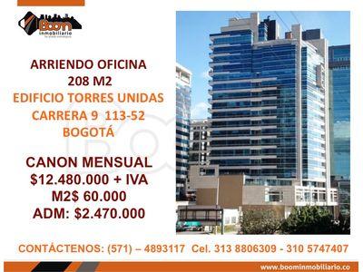 **ARRIENDO OFICINA 208 M2 TORRES UNIDAS 2