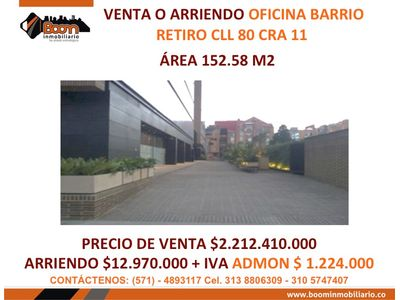 **VENTA ARRIENDO OFICINA EL RETIRO 152 M2