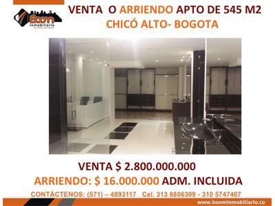 **VENTA ARRIENDO APARTAMENTO 545 M2 CHICO ALTO