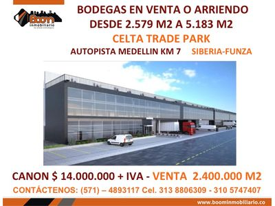 *VENTA ARRIENDO 2 BODEGAS 5.183 M2 CELTA SIBERIA