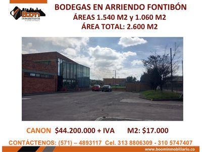 **ARRIENDO 2.600 M2 BODEGAS FONTIBON