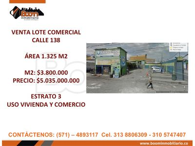 **VENTA LOTE COMERCIO VIVIENDA CALLE 138