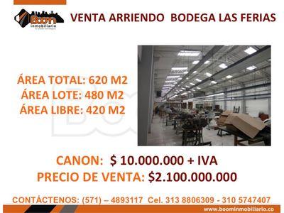 **VENTA ARRIENDO BODEGA 620 M2 LAS FERIAS
