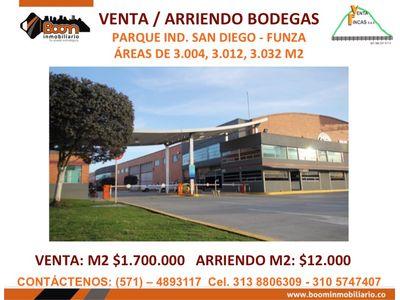 **VENTA ARRIENDO BODEGAS DESDE 3.004 A 9.048 M2