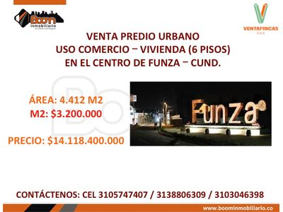 **VENTA LOTE URBANO 4.412 COMERCIO Y VIV. FUNZA