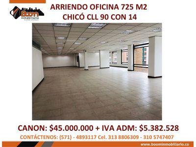 *ARRIENDO OFICINA 725 M2 EN CHICO CLL 90