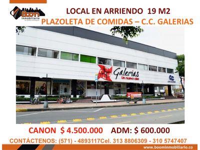 **ARRIENDO LOCAL PLAZOLETA COMIDAS CC GALERIAS