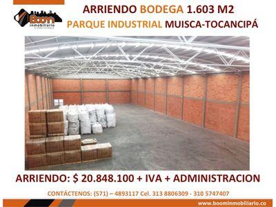 **ARRIENDO BODEGA 1.603 M2 TOCANCIPA ALTO IMPACTO
