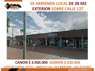 *ARRIENDO LOCAL 28 M2 CLL 127 CC NIZA