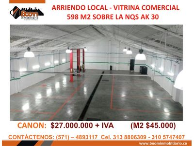 *ARRIENDO LOCAL SOBRE CRA 30 CAMPIN