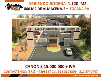 *ARRIENDO BODEGA 1.150 M2 EN TOCANCIPA