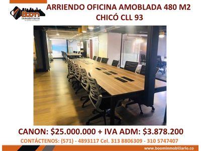 **ARRIENDO OFICINA 480 M2 AMOBLADA EN PARQUE 93