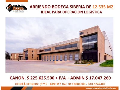 **ARRIENDO BODEGA 12.535 M2 SIBERIA
