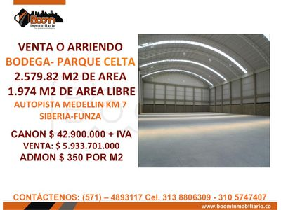 ARRIENDO VENTA  BODEGA 2.580 M2 CELTA TRADE PARK