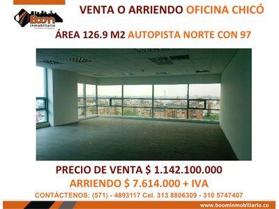 **VENTA ARRIENDO OFICINA 127 M2 CHICO AUTONORTE