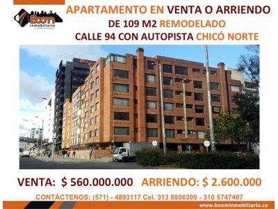 **VENTA ARRIENDO APARTAMENTO CHICO CLL 94