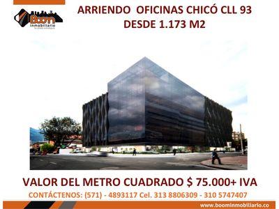 *ARRIENDO OFICINAS CHICO CLL 93 DESDE 1.173 M2
