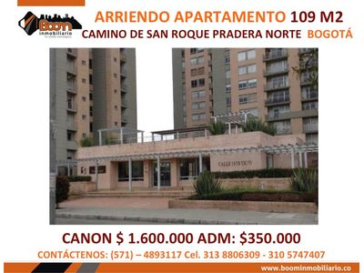*ARRIENDO APARTAMENTO 109 M2 PRADERA NORTE