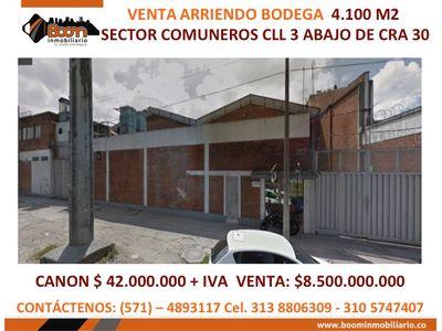 **VENTA ARRIENDO BODEGA 4.100 M2 CLL 3 COMUNEROS