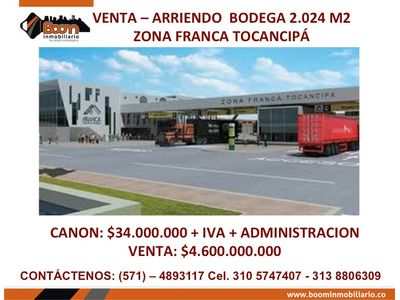*VENTA ARR. BODEGA 2.024 M3 ZONA FRANCA TOCANCIPA