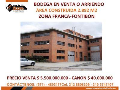 **VENTA ARRIENDO BODEGA ZONA FRANCA BTA - FONTIBON