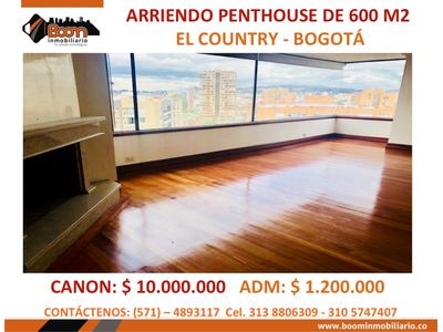 *ARRIENDO APTO PH SECTOR COUNTRY 600 M2