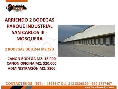 **ARRIENDO BODEGAS MOSQUERA 3.244 M2 C/U