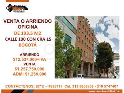 **VENTA ARRIENDO OFICINA 193,5 M2 CALLE 100