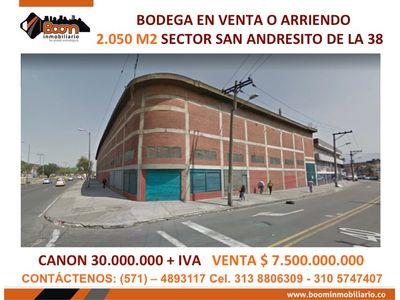 **VENTA ARRIENDO BODEGA 2.050 M2SECTOR SAN AND