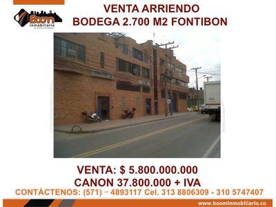 **VENTA ARRIENDO BODEGA 2.050M2 LOGISTICA FONTIBON