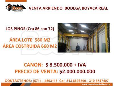 **VENTA ARRIENDO BODEGA 660 M2 LOS PINOS BOY. REAL