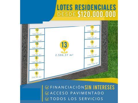 lotes residenciales desde 120 millones