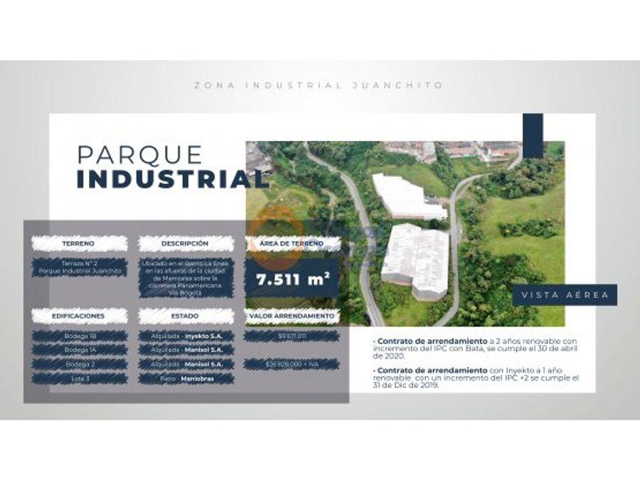 venta parque industrial en jaunchito manizales