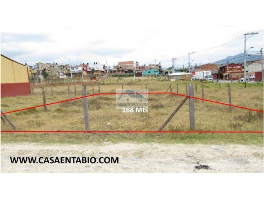 vende lote de 168 mts en tabio cerca a zona urbana