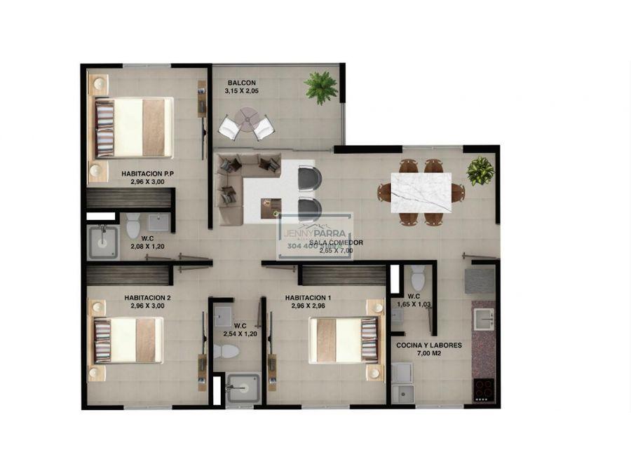 apartamento 81 m2 las palmas cartagena