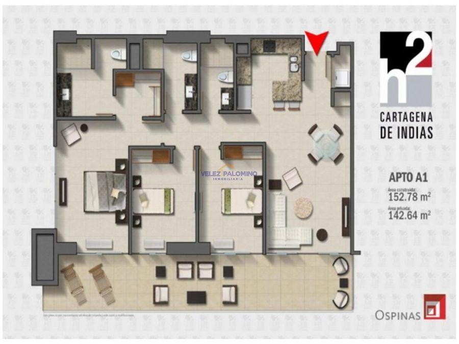 apartamento en bocagrande edificio h2