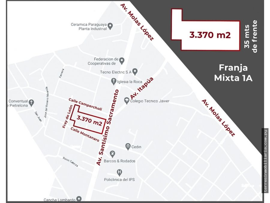 vendo terreno 3370 m2 sobre avda sacramento