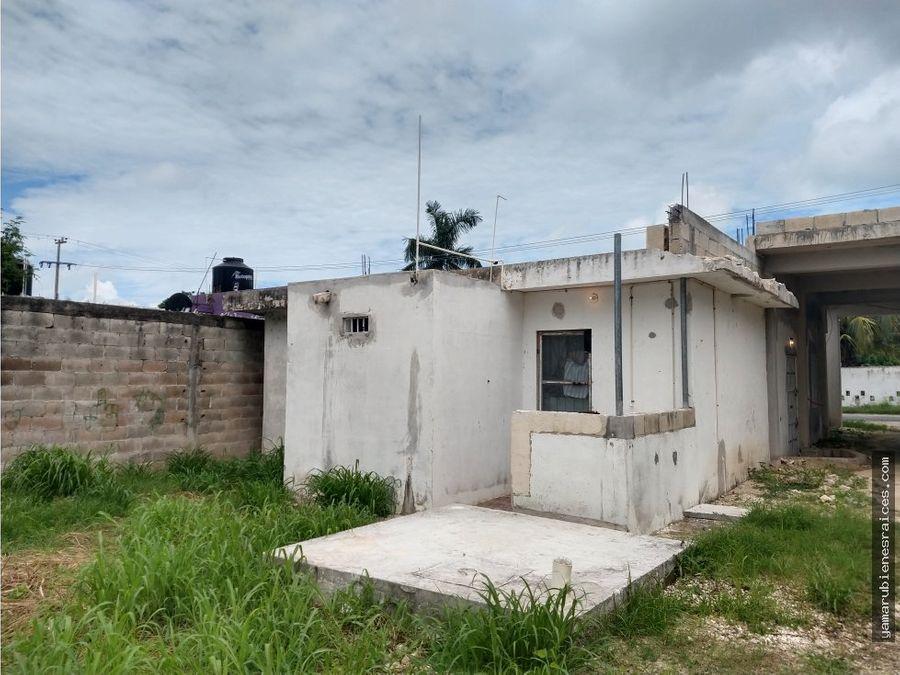 venta de casa en champoton terreno grande bardeado